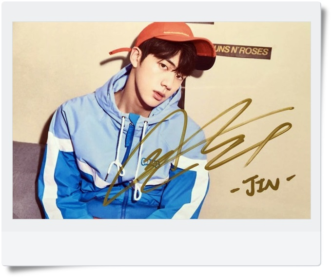 signed BTS JIN autographed  photo LOVE YOURSELF  4*6 inches  freeshipping 092017C