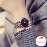 New Lady Top Luxury Quality Brand GUOU Woman Full Rose Gold Business Watches Lady Quartz Date