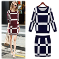 2016 new autumn winter fashion women round neck sweater long-sleeved knit shirt Plaid Slim package hip skirt women's suits