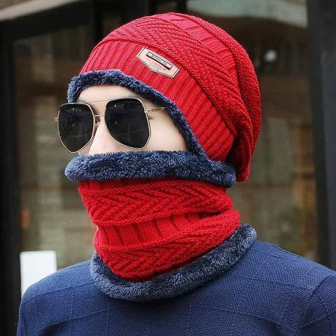 2018 Men Beanies Knit Hat Winter Cap For Man knitted Cap Boys Thicken Hedging Cap Balaclava Skullies Fashion Warm knit Beanie Karachi