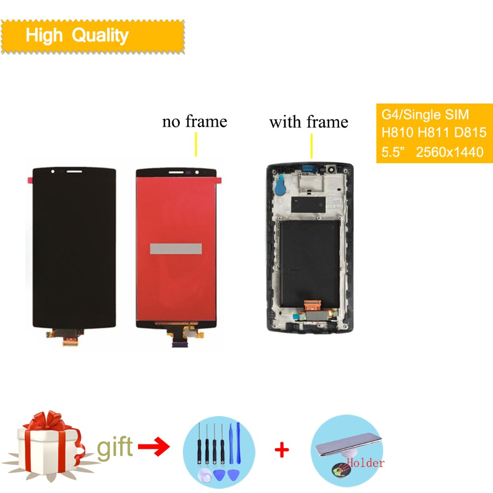 Original Single SIM for LG G4 H815 Display LCD Touch Screen with Frame Replacment H810 H811 H815 Screen Display for LG G4 LCD image