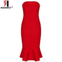 HAGEOFLY Summer Mermaid Bandage Dresses 2017 Women Straplesss Off Shoulder Trumpet Elegant Vestidos Party Dresses Casual