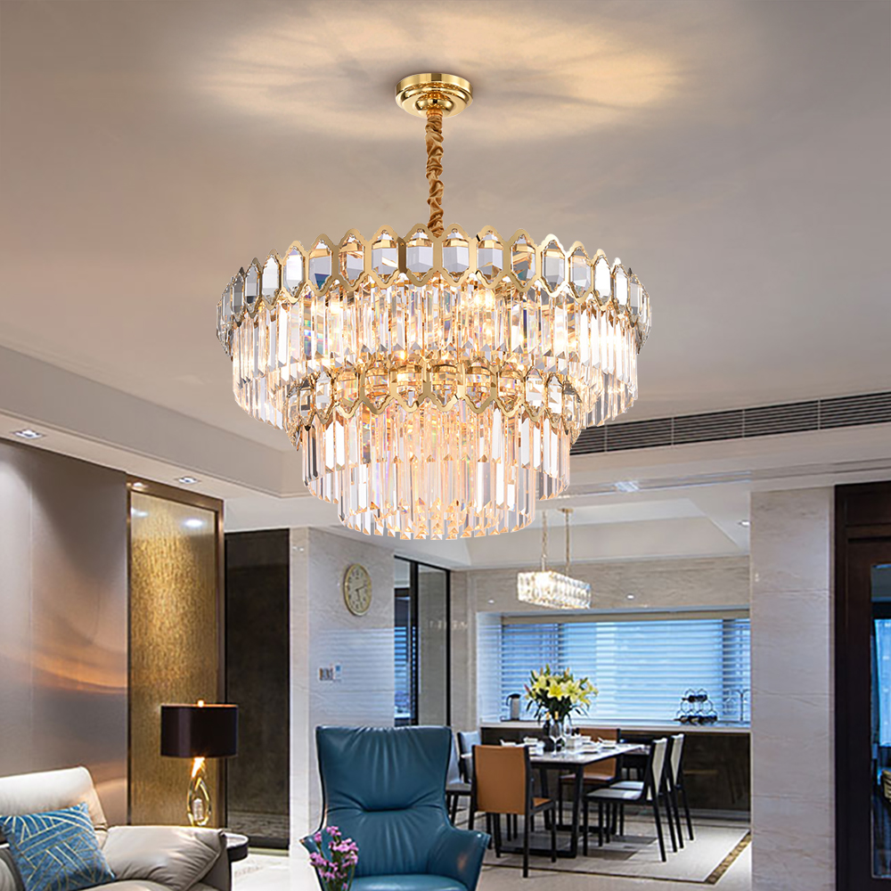 Modern Crystal Chandelier For Living Room Luxury Round Gold Chandeliers  Lighting