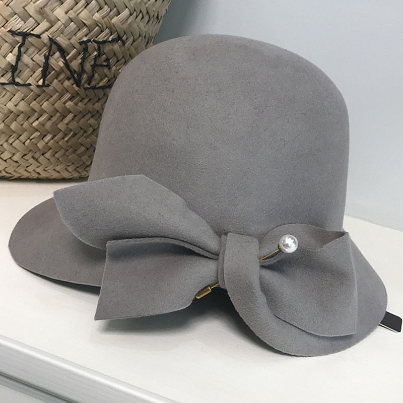 381d22473 FGHGF Elegant Formal Women Wool Felt Hat Winter Fedoras Cloche Bowler Hat  With Bow Ladies Derby Church Wedding Hat 2018 Hat Cap