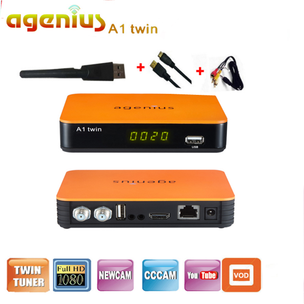Brazil 2 PCS/Lot digital receiver Agenius A1 twin DVB-S2+IKS+SKS+CS +VOD+VOD +H.265(HEVC)+USB WIFI +IPTV for Latin America conditional cash transfers in latin america