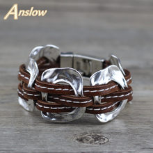 Anslow Hot Brand Fashion Jewelry New Punk Rock Style Exaggerated Party Punk Rock Leather Bracelet For Women Men Gift LOW0684LB(China)