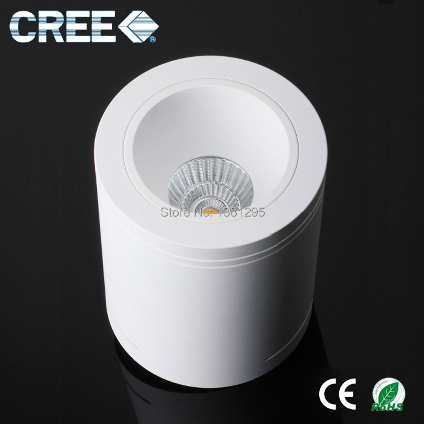 cree led round surface mounted cylinder plaster downlight dimmable cob 7w 9w plafonnier led. Black Bedroom Furniture Sets. Home Design Ideas