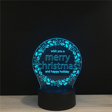 LED 3D Merry Christmas & Happy Hoilday NightLight Acrylic Night Lamp Light  With Touch And Remote Lamps Lights Kids Decoration