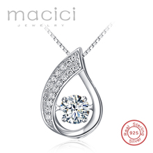 100% solid sterling silver pendant for girls,shaking stone pendant female ,cz crystal jewelry  (JA253)