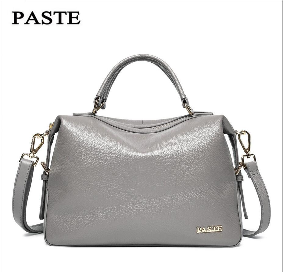 PASTE Leather Handbags Boston Bag New Soft Leather Portable Messenger Bag Head Layer of Cowhide Shell Bag Casual Tide Woman
