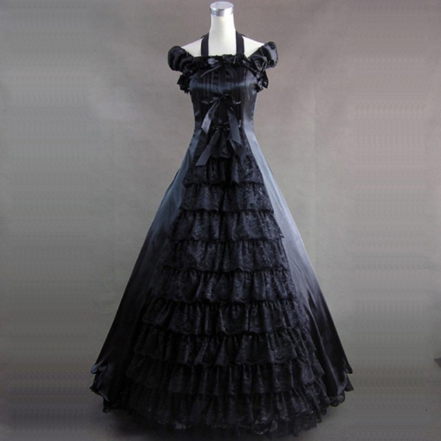 2018 Summer Black and White Princess Dress 18th Century Retro Gothic Victorian historical Party Dress Ball Gowns Drop Shpping