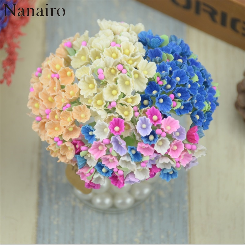 8pcs/40heads 1cm Mini Paper Rose Flowers Bouquet Wedding Decoration ...
