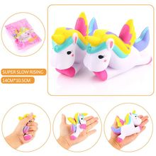Lovely Plush Unicorn Horse Dolls Slow rebound Cartoon Stuffed Toy Squeeze Relieve Anxiet Fun Jokes Props