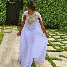Langen Weißen Abendkleid 2016 Muslimischen Dubai Marokkanischen Kaftan High Neck Perlen Gold Strass Kundenspezifische Formales Abschlussball-partei-kleid