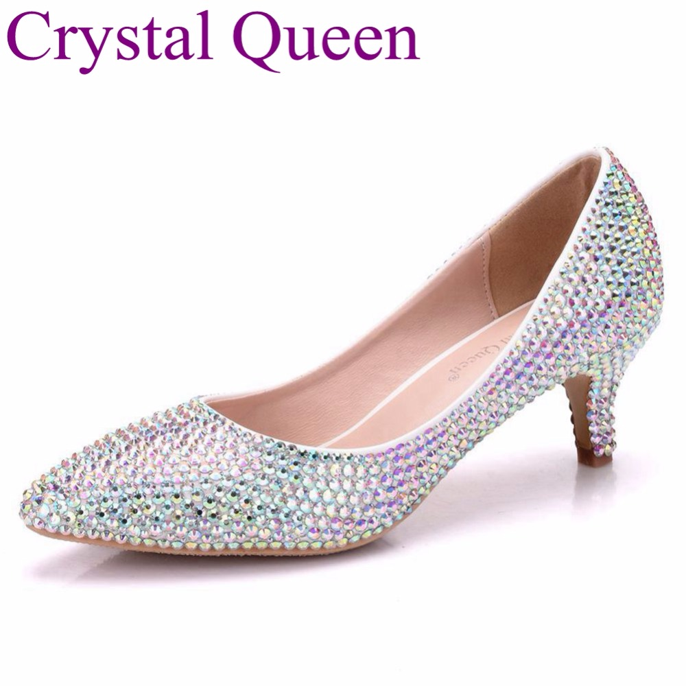 Crystal Queen 5CM Women Pumps Pointed Toe High Heels Fashion Sexy Pumps Rhinstone Wedding Shoes Party