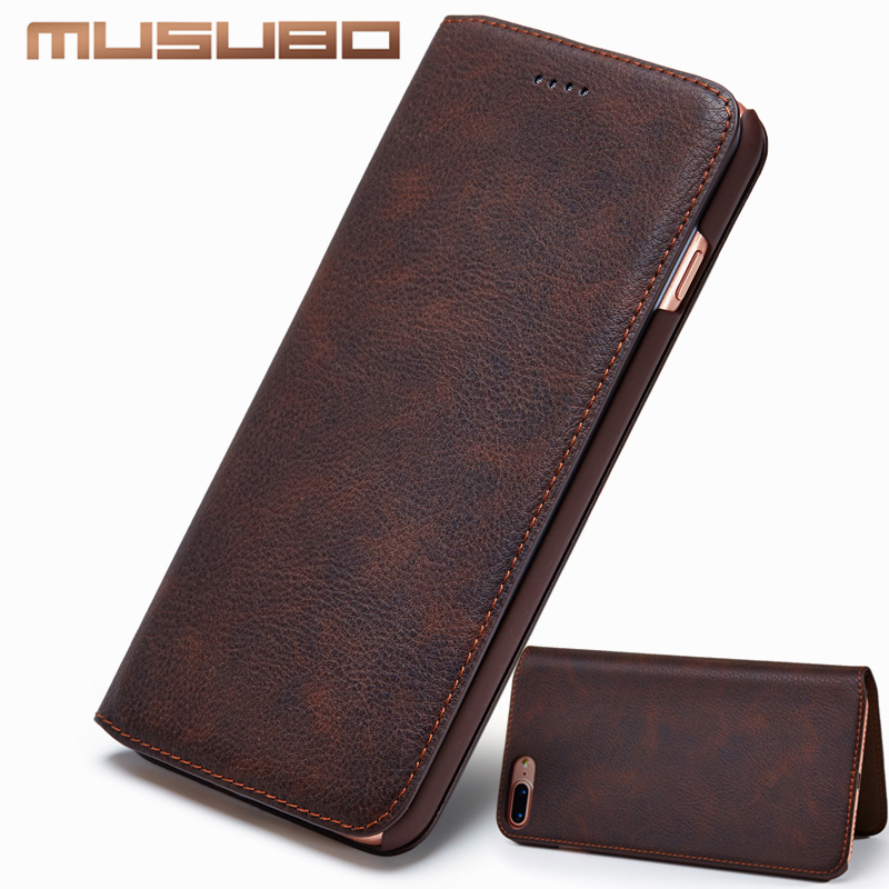 Musubo Delgada teléfono caso para Funda iPhone XS MAX 7 Plus Cuero auténtico lujo Carcasas para iPhone 8 6 Plus 6s Samsung S8+ S9 Plus Note8 Case Cover Flip capa funda iphone 8 Plus carcasa iphone XR 6S Plus Coque Capa