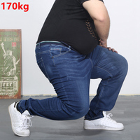 Oversized jeans fat 300 pounds extra large fat PANTS Big men 160kg thin Spring waist trousers summer 6XL 7XL 8XL 60 big Szie