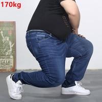 Oversized jeans fat 300 pounds extra large fat PANTS Big men 160kg thin Spring waist trousers summer 6XL 7XL 8XL 60 big Szie