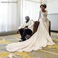 Luxury African Wedding Dresses Heavy Beading Crystals Long Sleeves Detachable Train Bridal Gowns 2019 Lebanon Vestido Novia