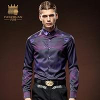 FANZHUAN Spring Autumn Shirts Men Casual Slim Fit Shirt Fashion Long Sleeve Male Shirts Purple Floral