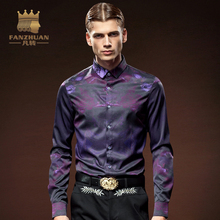 FANZHUAN Spring Autumn Shirts Men Casual  Slim Fit Shirt  Fashion  Long Sleeve Male Shirts  Purple  Floral  Mens  Dress Shirts