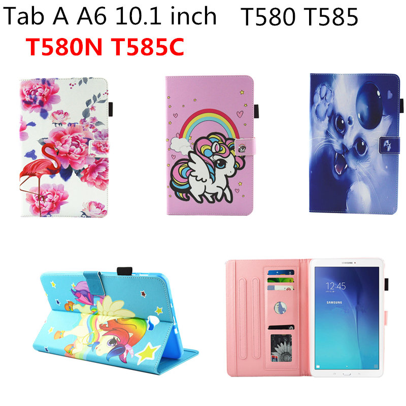 Cute painted Pu leather Soft TPU Back stand Cover Case For Samsung Galaxy Tab A A6 10.1 inch 2016 T585 T580 T580N T585C tablet flip cover pu leather for samsung galaxy tab a6 10 1 2016 t585 t580 sm t585 t580n tablet case cover soft tpu back cover