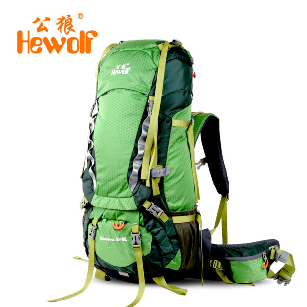 Hewolf 65L Outdoor Bags Climbing Hiking Rucksack Shoulder Backpacks Mountaineering Climbing Equipment Unisex Backpack Rain Cover