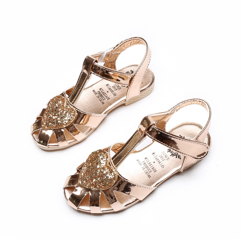 New Fashion Summer Kids Sandals Shoes With Glitter For Girls Shoes The Antiskid Portable Sole Soft Leather Children's Girl Shoes