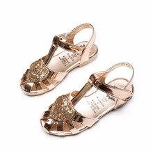 Nouveau Mode D'été Enfants Sandales Chaussures Avec Des Paillettes Pour Les Filles Chaussures La Antidérapant Portable Semelle En Cuir Souple Enfants de Fille chaussures