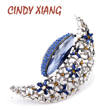 CINDY XIANG New Vintage Large Moon Brooches for Women Winter Coat Accessories Elegant Party High Quality 2018