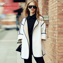 Quintina 2017 New Fashion Loose Women Overcoat Casaco Feminino Wool Coat Female Overcoat Winter Coat Women