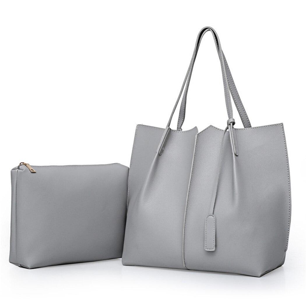 2Pcs/Set Large Black Handbag Composite PU Leather Tote Bag Female Small Shoulder Bag