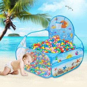 Image 3 - خيمة لعب جديدة سلسلة المحيط لعبة كرتونية على شكل كرات محمولة قابلة للطي للأطفال لعبة تعليمية رياضية في الهواء الطلق مع سلة