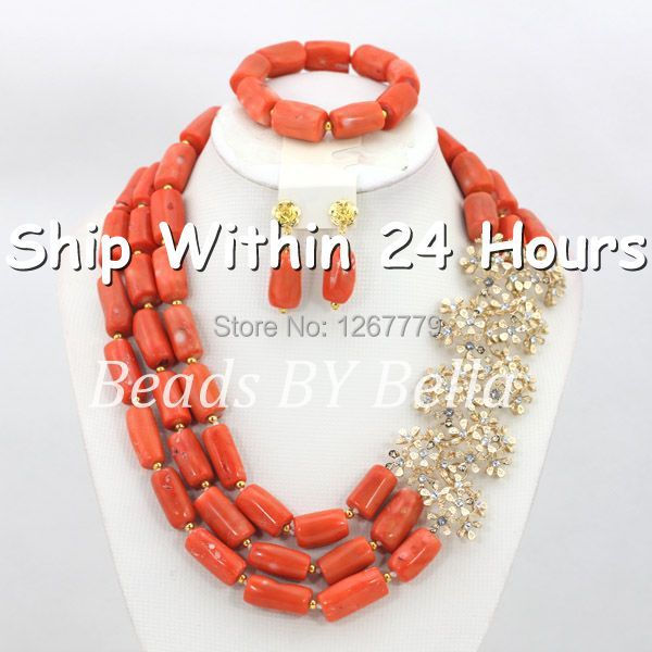 Wonderful Pink Coral Beads Set !8k Wedding Set African Beads Jewelry Set Dubai Wedding Necklace Set Free Shipping ABC474 set