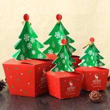 10 Pcs/lot Three-dimensional Christmas Tree Large Paper Candy Box DIY Cookie Gift Boxes