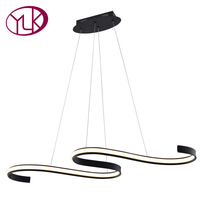 Youlaike New Modern LED Chandelier For Living Room Creative Design Black Hanging Kitchen Island Lighting Fixture