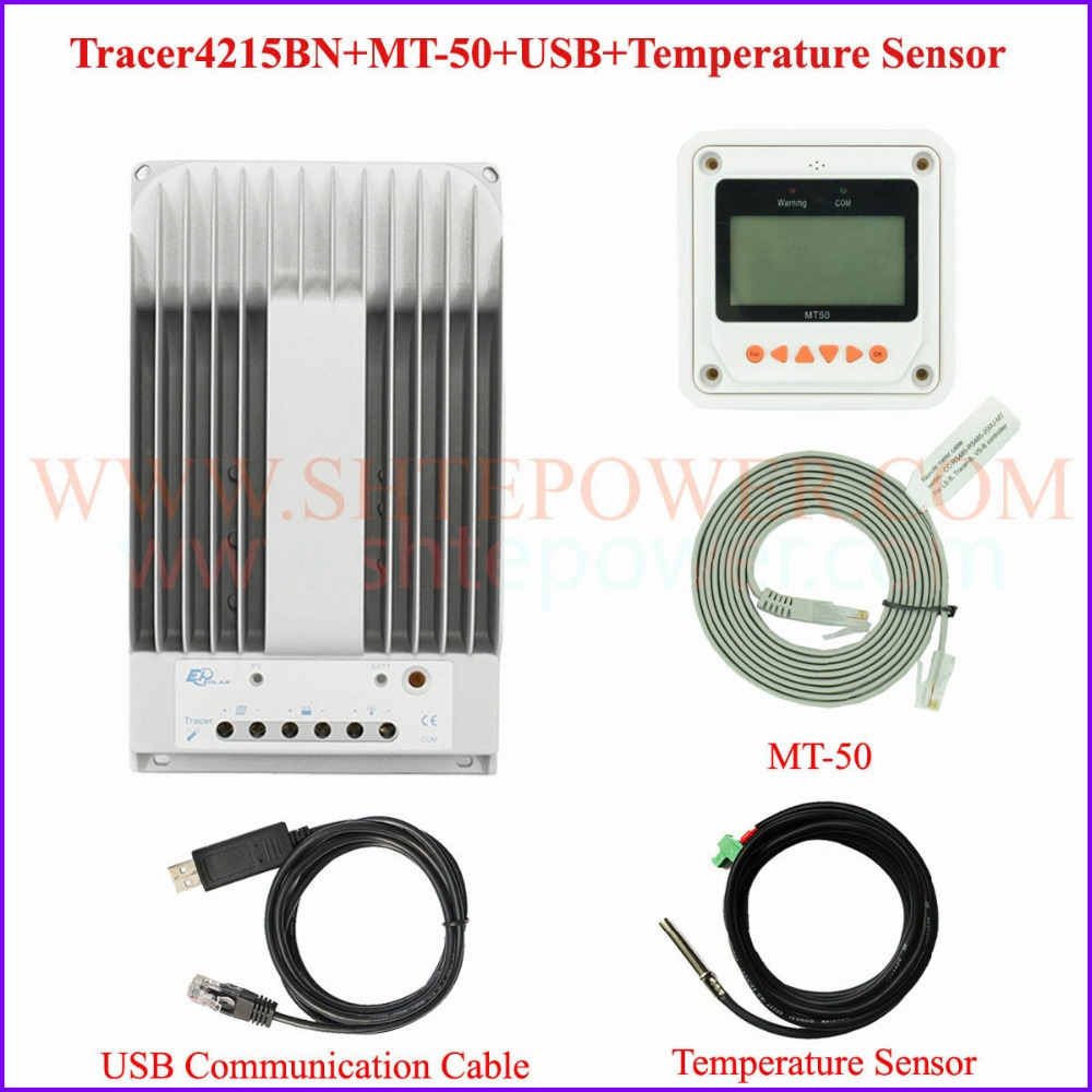 EPEVER EPsolar New Tracer 4215BN MPPT 40A solar controller 150v including MT50 USB and Sensor cable epsolar mppt tracer4215bn 40a 40amp solar controller with mt50 usb and sensor