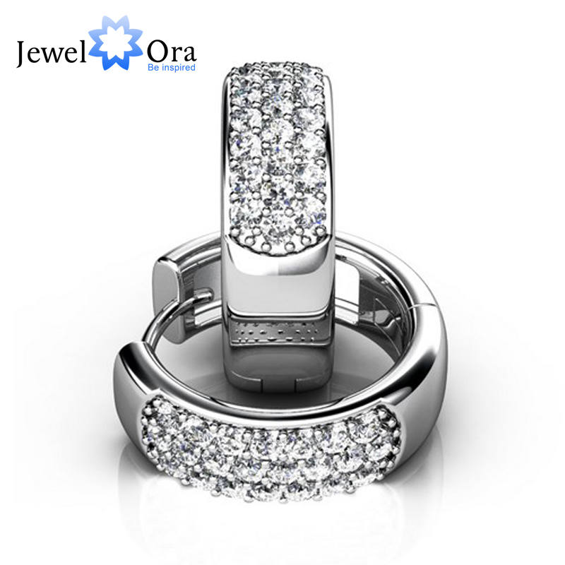 5mm Width 925 Sterling Silver With Rhodium Plated Three Rows Zircon Hoop Earrings For Women Party