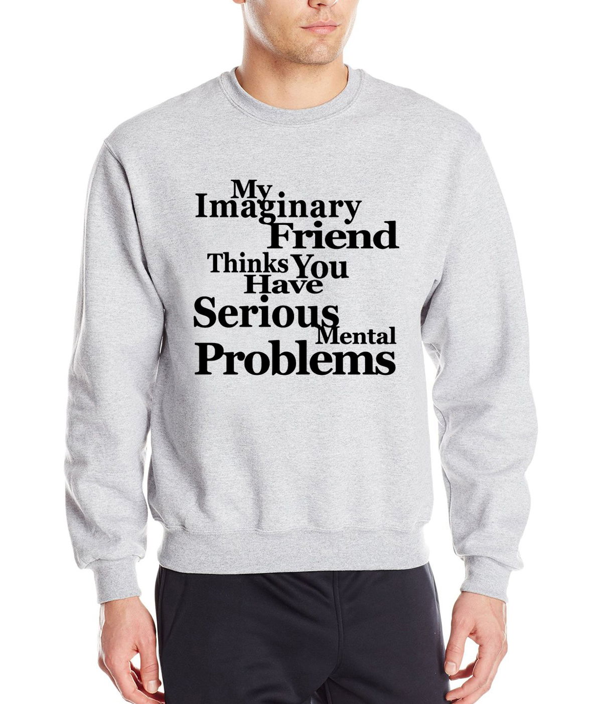 funny clothing novelty men sweatshirt You Have Serious Mental Problems letters print 2019 spring winter hoodies men tracksuit