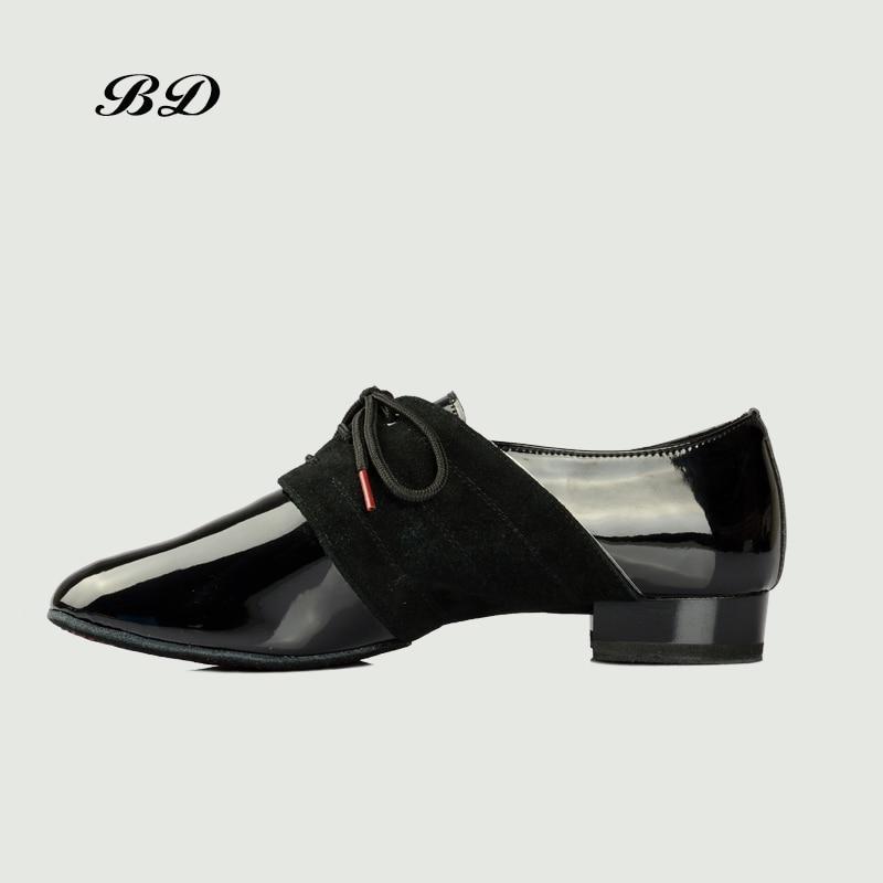 BD chaussures de danse chaussures latines salle de bal hommes chaussure moderne souple peau de vache semelle BDDANCE 322 deux points semelle importé en cuir verni Slip-UP