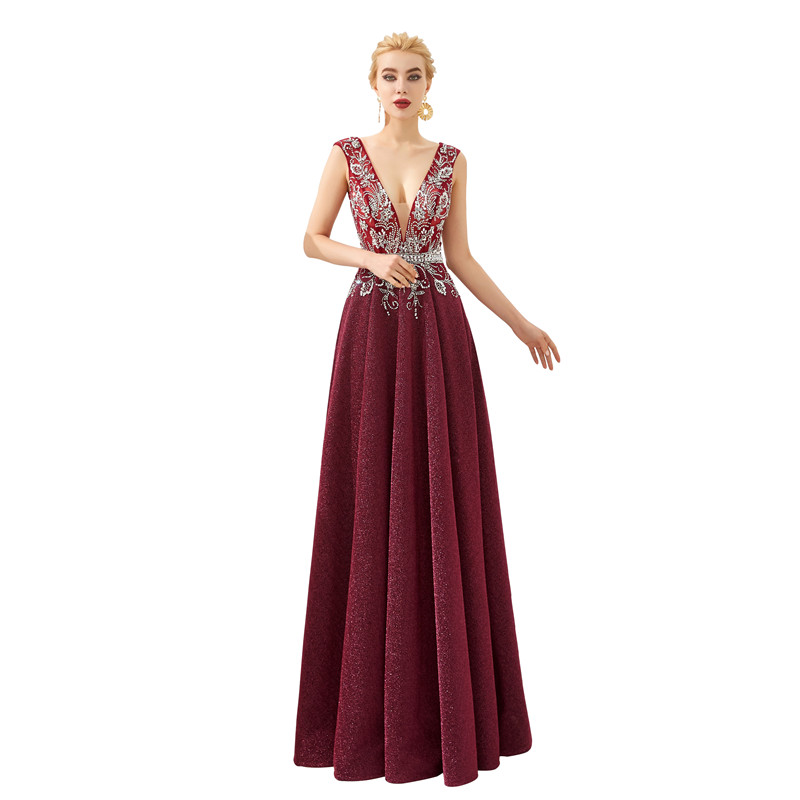 Elegant Deep V Neck Tank with Appliques Backless Evening Dress Long Robe de soiree Abendkleider Evening gown Serene hill 61330