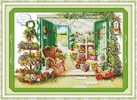 New Flower Shop Cotton DMC Scenery Home Decor Cross Stitch Kits 14ct White 11ct Print Embroidery