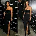 Sexy Kim Kardashian Dresses Black Two Piece Red Carpet Dress Strapless High Side Slit Long Cheap Celebrity Evening Gowns