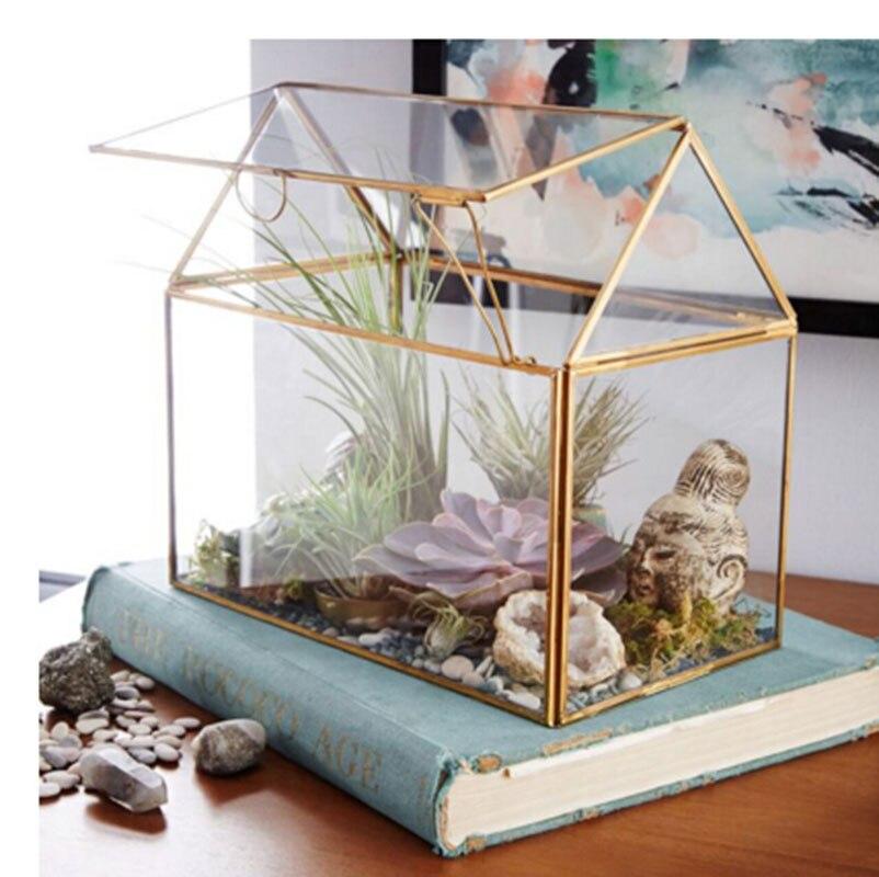 Pots de fleurs en verre jardinières décoration de la maison Terrarium Air plante vases géométriques boîte en verre décor de mariage fait à la main en cuivre bord vase