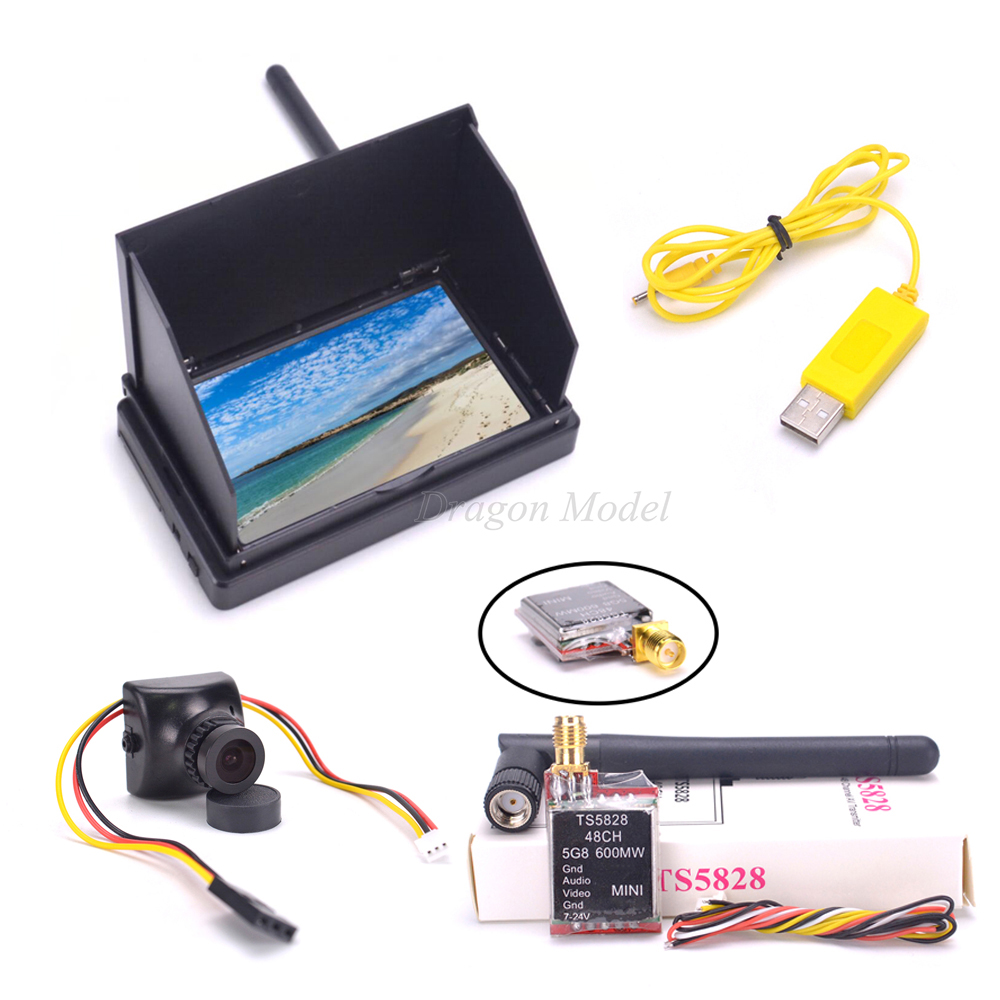4.3inch 48CH LCD 480 x 22 Wireless Receiver Monitor built in battery TS5828 48CH 600mW 700TVL 2.8mm PAL Camera For FPV Drone-in Parts & Accessories from Toys & Hobbies