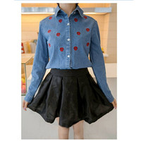 Promotion Retail Womens Denim Button Down Shirt Lape Long Sleeve Dark Light Blue Color Jeans Blouse