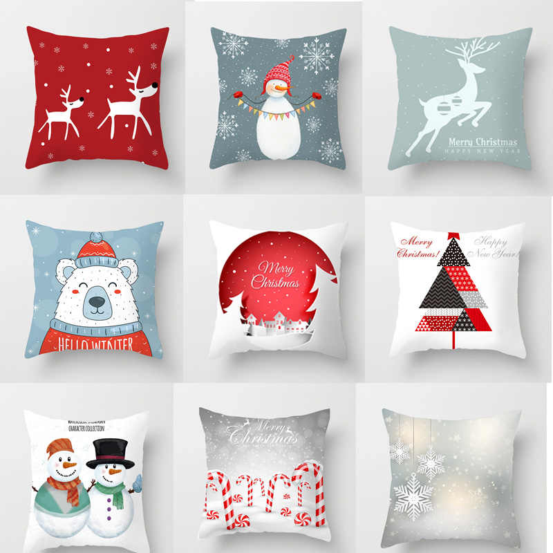 1Pcs 45*45 Cm Happy New Year Christmas Santa Claus Xmas Decorations for Home Elk Cotton Decorative Pillows Cover Navidad Natal