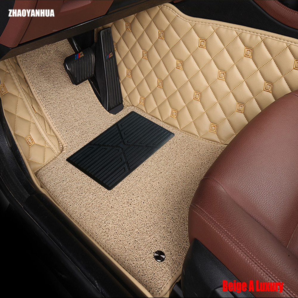 ZHAOYANHUA car floor mats for Audi A5 sportback S5 A3 A4 A6 A7 A8 A8L Q3 Q5 Q7 5D car-styling leather rugs carpet floor liners custom make waterproof leather special car floor mats for audi q7 suv 3d heavy duty car styling carpet floor rugs liners 2006
