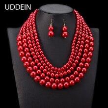 UDDEIN Nigerian Wedding jewelry Set Multi layer pearl neckla