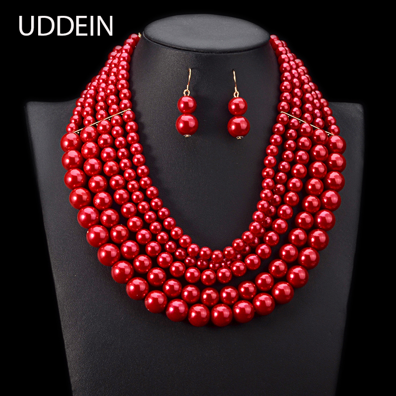 UDDEIN Nigerian Wedding Jewelry Set Multi Layer Pearl Necklace Pendant Bridal Accessories Jewellery African Jewelry Set